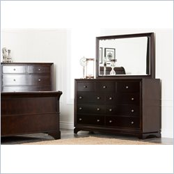 Abbyson Living Capriva Dresser and Mirror Set in Dark Truffle