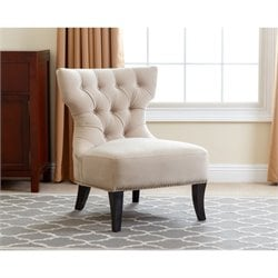 Abbyson Living Napalee Armless Microfiber Tufted Suede Chair in Cream