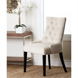 Abbyson Living Maverick Wood Microsuede Chair in Cream