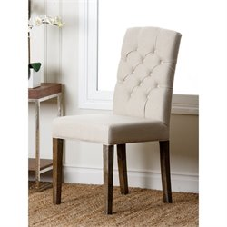 Abbyson Living Princeton Linen Tufted Dining Chair in Beige and Rustic Natural