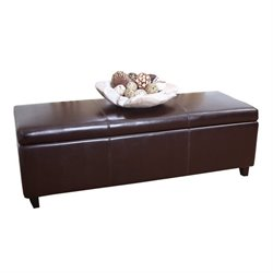 Abbyson Living Camberton Leather Storage Ottoman Bench in Dark Truffle
