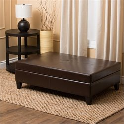 Abbyson Living Zembadah Wood and Leather Ottoman in Dark Truffle