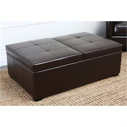 Abbyson Living Havington Wood and Leather Ottoman in Dark Truffle