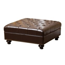 Abbyson Living Oreana Leather Ottoman Coffee Table in Dark Brown