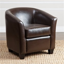 Abbyson Living Kara Faux Leather Arm Chair in Espresso