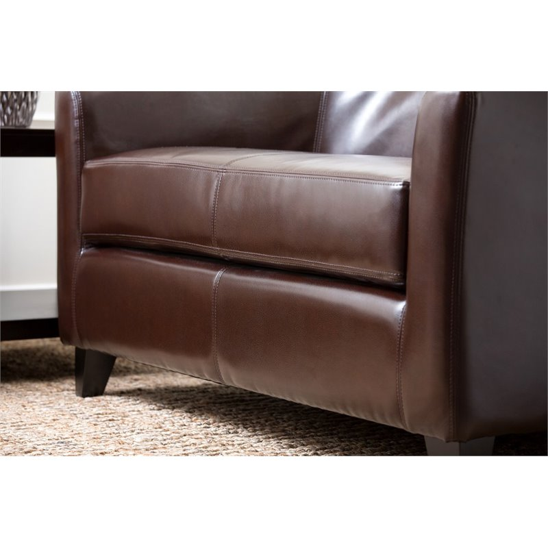 Abbyson Living Dray Leather Loveseat in Brown