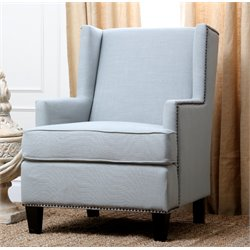 Abbyson Living Morrena Linen Armchair in Light Blue