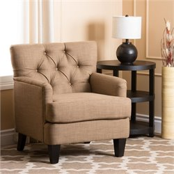Abbyson Living Freemain Wood and Linen Chair in Taupe