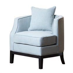 Abbyson Living Skylar Linen Corner Chair in Sky Blue
