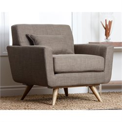 Abbyson Living Paisley Tufted Fabric Armchair in Khaki