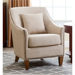 Abbyson Living Jennifer Fabric Nailhead Trim Armchair in Cream