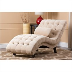 Abbyson Living Bera Fabric Upholstered Chaise Lounge in Sandstone