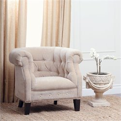 Abbyson Living Camber Wood and Linen Armchair in Cream