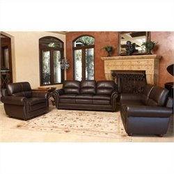 Abbyson Living Gailmarie 3 Piece Leather Sofa Set in Brown