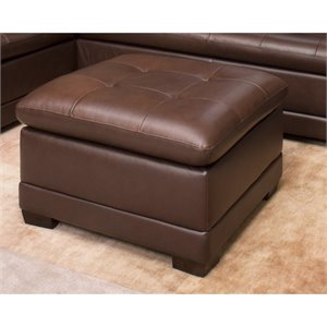 Abbyson Living Parker Square Leather Ottoman in Brown