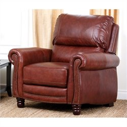 Abbyson Living Aron Hand Rubbed Top Grain Leather Recliner in Brown