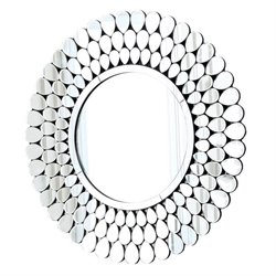 Abbyson Living Cadence Glass and Wood Mirror in Silver