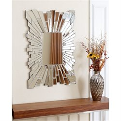 Abbyson Living Larisa Glass and Wood Mirror in Silver
