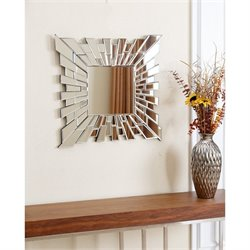 Abbyson Living Zama Glass and Wood Mirror in Silver