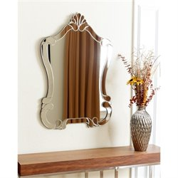 Abbyson Living Valar Glass and Wood Mirror in Silver
