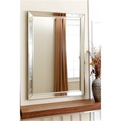 Abbyson Living Aria Glass and Wood Mirror in Silver