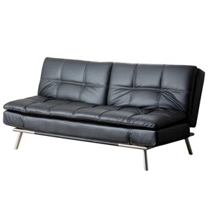 Abbyson Living Marquette Faux Leather Convertible Sofa in Black