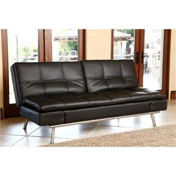 Abbyson Living Marquette Leather Convertible Sofa in Black