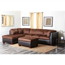 Abbyson Living Channa Micro-suede Sectional Sofa Set in Dark Truffle