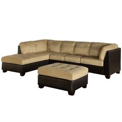 Abbyson Living Channa Micro-suede Sectional Sofa in Sandstone