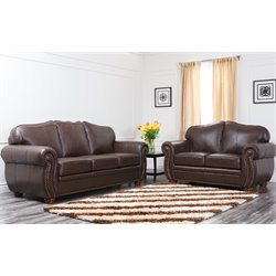 Abbyson Living Macina 2 Piece Leather Sofa Set in Dark Truffle
