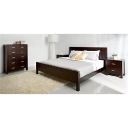Abbyson Living West Park 4PC King Oak Bedroom Set in Caramel Mocha