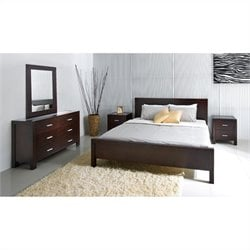 Abbyson Living West Park 5 Piece Queen Oak Bedroom Set in Caramel Mocha