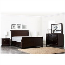 Abbyson Living Capriva 5 Piece Queen Oak Bedroom Set in Dark Truffle