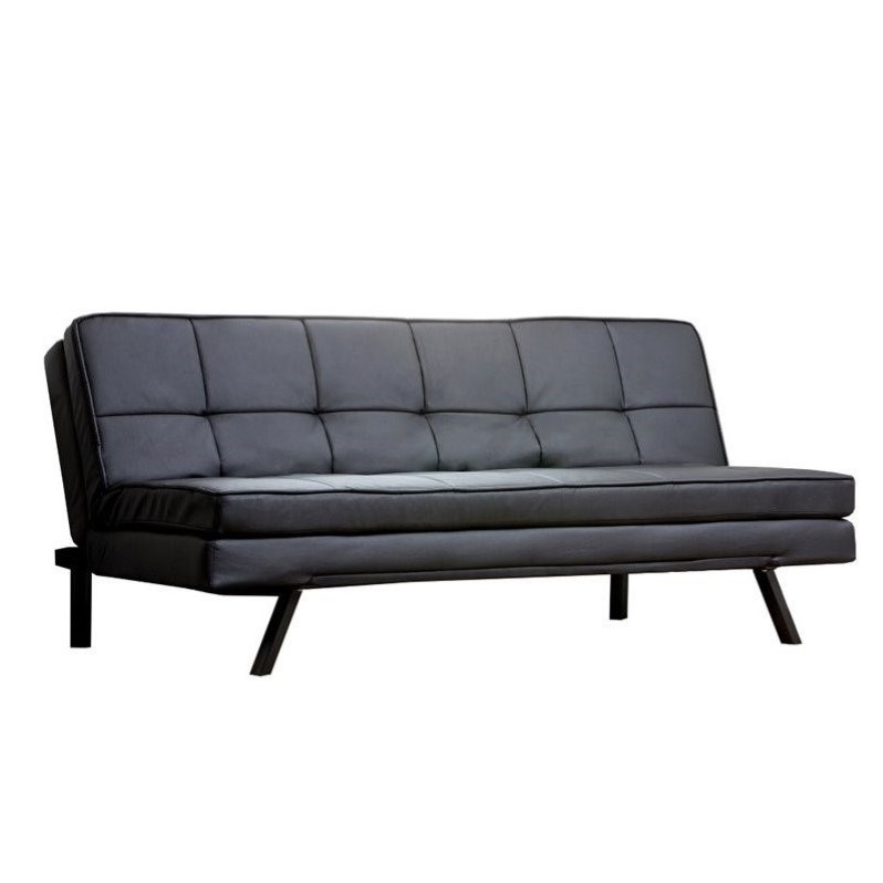 Abbyson Living Bradley Faux Leather Convertible Sofa in Black