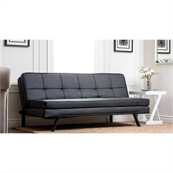 Abbyson Living Bradley Leather Convertible Sofa in Black