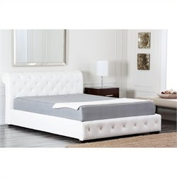 Abbyson Living Colfax Leather Full Platform Bed in White