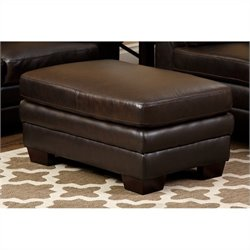 Abbyson Living Lalia Itialian Leather Ottoman in Dark Truffle