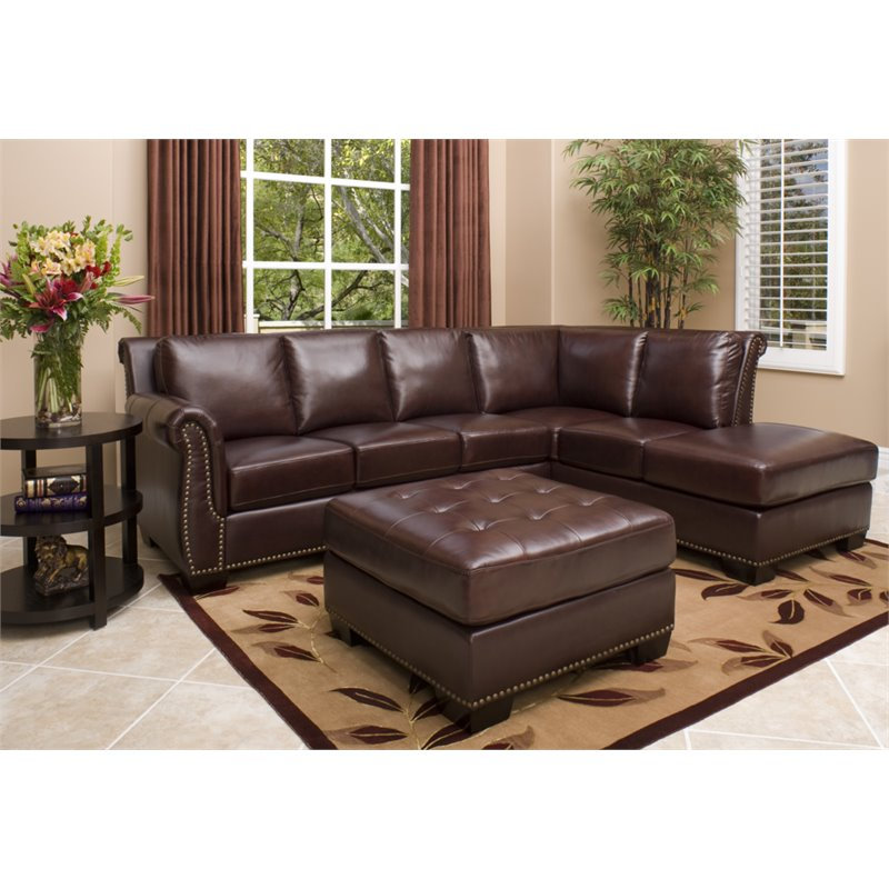 Winston Leather Sectional & Ottoman Set in Brown