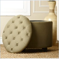 Abbyson Living Porter Tufted Lid Top Storage Ottoman in Green