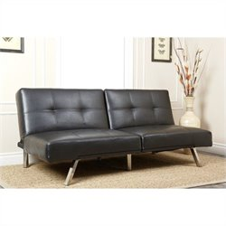Abbyson Living Jakarta Bonded Leather Convertible Sofa in Black