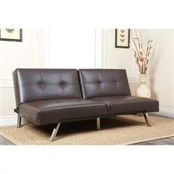 Abbyson Living Jakarta Leather Convertible Sofa in Brown
