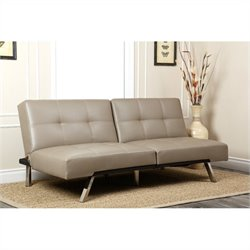Abbyson Living Jakarta Leather Convertible Sofa in Grey