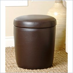Abbyson Living Avenue Round Leather Storage Ottoman in Dark Brown