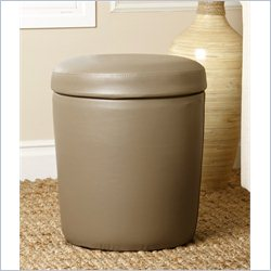 Abbyson Living Avenue Round Bonded Leather Storage Ottoman in Grey