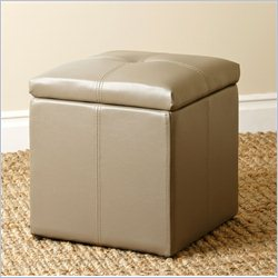 Abbyson Living Yorker Storage Leather Tufted Ottoman in Grey