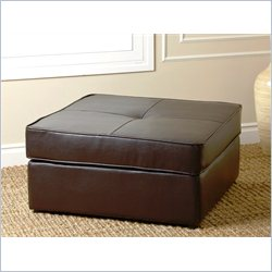 Abbyson Living Santiago Square Bonded Leather Ottoman in Dark Brown