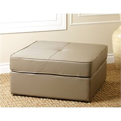 Abbyson Living Santiago Square Leather Ottoman in Grey