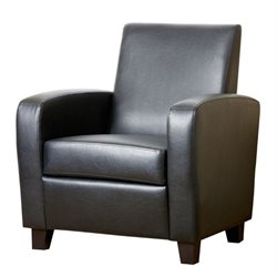 Abbyson Living Capella Faux Leather Club Chair in Black
