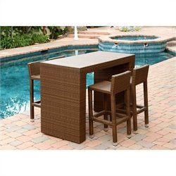 Abbyson Living Palermo 5 Piece Wicker Patio Dining Set in Brown