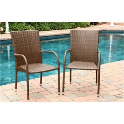 Abbyson Living Palermo Outdoor Wicker Dining Chair in Brown (Set of 2)